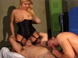 This big titty redhead is getting her ass fucked by two guys.  The guys have no problem fucking each other too.  These three crazy people take turns sucking and drilling each other's brown eyes.  When cumshot time rolls around, the girl isn't the only one taking one in the face.