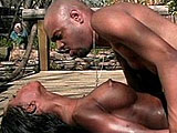 A big titty black girl is hogging on some big bococky. After sucking cock, she takes a hard fucking from the dude's beefy cock in a number of positions.