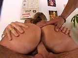 Big sexy blonde, Roxy Blaze, is getting piped by two big cocks.  Both guy's pull their cocks out and shove them down her throat. One man fucks her ass and shaved snapper while she continues sucking on the other's big cock.