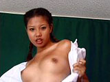 Nika, a hot Asian girl, is getting her fill of big American cock in her small snatch.  She starts out playing with herself, and then gets joined by a guy with huge hard cock.  She sucks and rides on his big cock until he nuts all over her nice tits.
