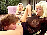The blonde hotties, Alana and Candy, are tag teaming a big cock with their mouths. After sucking on the guy's big beefy cock, the girls take turns getting fucked in all their holes by the guy while eating each other out.