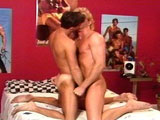 This hot guy is awoken from the sounds of his male roommates pounding each other.  Instead of being mad, he decides to rub one out.  The clip goes back and forth from him jerking off to his roommates hot anal pounding action.