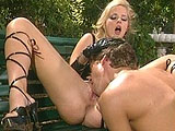 Hannah Harper, a smoking hot blonde, is getting fucked out in the woods somewhere.  Before hopping on the guy's dick, she gives him an extra sloppy blowjob.