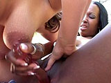 Two sexy full figured girls are playing with one another's wet pussies. After some sloppy tongue fucking, they take turns fucking one another with the dildo.