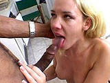 Olivia Saint is a sexy honey blonde ass eater.  She tosses this black guy's salad with a vegence.  He busts a nut on her face.