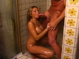 Busty Anna Nova gets fucked in a shower.  This hot chick gets titty copulated before getting rammed while standing up.