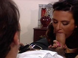 Ava, a hot ass brunette, has got her mouth full with a big fat sausage.  She is very good at riding on a big pole as well.