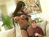 Kelly Star, a really sexy black girl, is hogging up and down on a nice big white cock. After her amazing BJ, she has her ass hole thoroughly fucked til he's ready to blow his load all over her face.