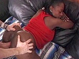 Tre, a sexy black girl, is having her pussy drilled by a long-haired redneck.  She gets the dude's cock nicely lubed with a vigorous blowjob before going for an orgasmic ride on his cock.
