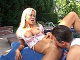 Amber Lynn, a porn star hall of famer, get it on by the pool.  She gets her pussy eaten, and then masturbates with a dildo.  Afterwords, in comes the stud cock to do some fucking.