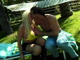 Pamela Peaks, a double D blonde, is outside for an afternoon of passion and pussy pounding. When her man gets under her, those big chest balloons start shaking as if he was dicking her with a jack hammer.