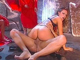 Gia Paloma is in the depths of hell.  She gets fucked by a soldier of satan.  Gia gets her face plastered by his demon seed!