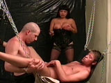This big titty brunette is getting fucked by two dudes that love fucking her. They also love fucking and sucking on each other.