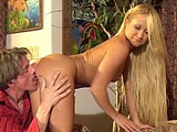 Joelean, a sexy blonde, is bobbing her mouth up and down on a big meaty cock. After her wet blowjob, she goes for a rough ride on the guy's big erect cock before having her beautiful face covered in vitamin C.