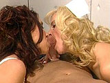 A hot big titty blonde and sexy brunette are sucking and fucking on a big beefy cock.  The girls savagely attack the dude's big dick with their mouths before riding his face and cock.  At one point amidst all the fucking the brunette puts on her strap on so she and the dude can DP the fuck out of
