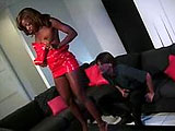 Monigue, a sexy African American, is having her hot black ass fucked by a big dick.  Before getting the dudes big hard cock stuffed in her ass hole, she gives his cock a good once over with her mouth.