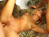 This sexy blonde is freshening up her patch before getting fucked by two guys.  She sucks both guys' cocks, and has her ass and pussy pounded before taking a massive facial.