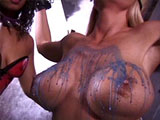Mistress AJ is playing with her Slave named Shauna.  She makes her strip and submit to a candle wax tit torture.