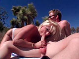 Lizzy Ligues is a busty blonde coed.  She gets fucked outside, and receives a cumshot to her mouth.