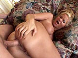 This blonde whore in pigtails is Veronica Caine.  She fingers her asshole, making sure to take a taste.  She sucks this guy's balls and cock deep into her throat, then gets it shoved even deeper in her ass.  Veronica is very explicit about what she wants and likes, asking to taste her ass on his coc
