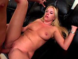 Taylor Lynn is doing a striptease in the living room.  A guy comes in and she drops to her knees to suck his cock.  She doesnt really deepthroat it, but I dont think any guy would complain about the rest of her no hands technique.  She lays down on the couch and gets fucked in the ass, and the