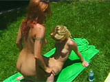 In this scene, Autumn Haze and Chrissy Sparks Primp and pose before getting together out in the lawn.  They rub all over each other and Autumn breaks out a vibe to use on Chrissy.  Chrissy then dives in to lick Autumn's pussy and buzz her button in return.