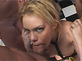 A hardcore group hook-up in a garage sets the stage for this horny whore to get railed in all her slippery holes. At the beginning, it seems like shes in charge, as the guys are all tied up and she teases them with her pussy in their faces. But soon, theyre untied and shes on her knees, usi