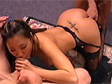 A full half-hour of amateur group fucking, sucking and licking await in this filthy flesh fest. There are several girls, one Asian, slobbing knobs and waiting to be fucked, while four guys take their turns slamming these broads in their mouths, twats and assholes. There is double facial action early