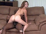 A small framed big booty white girl, Brooklyn Knight, has a great scene with a well hung black stallion.  As she fucks him in several positions, her ass jiggles all over the place.
