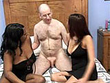 In this scene, Lavender and Liani share a hairy guy.  They start of by licking and sucking his dick, and then he fucks them both.  He blows his load in the condom while fucking Liani.