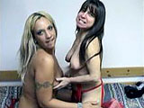 Lexxi and Vixen are in matching lingerie to start this scene out.  They get undressed and Vixen goes down on Lexxi.  She then puts on a purple strap on to fucker her with.