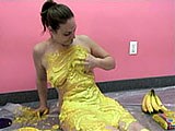 In this scene, Danni covers herself with cake batter and crushed up cookies.  To top things off, she smashes up and rubs in some bananas.