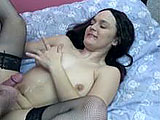 This amateur scene features Sarah.  She is relatively new to the biz.  Her scene starts out with the hairy geek licking and sucking on her clit.  She has to explain how to do it, and then shows him on his dick.  They fuck in a couple positions on the bed and then the guy shoots his load on her stoma
