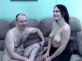 Sarah is brunette amateur that loves sucking balls.  In this scene she demonstrates her oral abilities on a hairy geek after he licks her clit.  Sarah does her work on his package and takes his load down her throat.