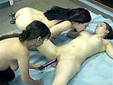 This scene has amateur girls Kathy, Sarah, and Vixen in a threeway.  Sarah is taken care of by the other two, and then Kathy gets hers.  Vixen only shoves a vibrator in and out of the others.