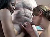 In this scene, Mariah and Mercy give a hairy guy a blowjob.  They take turns sucking and licking until he blows in Mariah's mouth.  She is selfish and doesn't share it with Mercy.  She swallows it all down.