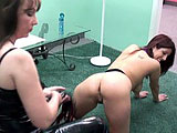 Lavender crawls in to the room and licks the boots of Ms Brooke.  Brooke uncrosses her legs and unleashes a big strap on for Lavender to suck on.  Lavender gets her pussy played with, and then rides her mistresss strap on.  After she cums, Lavender sucks her juice off the strap on.