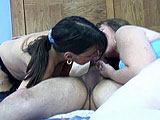In this scene, midget Vixen and BBW Brooke give a guy a double blowjob.  They share sucking his cock until he pops in Brooke's mouth.  She swallows it down with a smile.