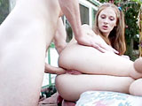 Allison Wyte is an 18 year old nympho that loves getting fucked in the ass.  She is outside by a hot tub and gets her sweet pussy eaten out and sucks cock in 69.   Her pussy is completely shaved with the exception of a Hitler stache.  Allison gets fucked in her pink pussy in a few positions, and the