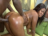 In this scene, Mahogany is all whored up and ready to go out, but her man wants to get a little somethin somethin first.  He oils up her ass and then has her suck his big black dick.  She works her shit on his cock and he pounds away at her pink insides.  Mohogany gets an appetizer before dinner.