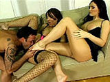 In this scene we have a little bit of everything.  Girl on girl, threesome, foot fetish, anal.  A little kink for everybody.  It starts out with Celeste Star and Lora Black on the couch going at it until a guy comes in to play along.  He gets a footjob from one of them while sucking the toes of the