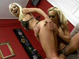 Two hot blondes, Britney and Helena G., are rubbing on each other in the bedroom.  One fingers and eats pussy, the other fingers and eats ass.  Now a guy walks in, and they get to work on his cock, balls, and even lick his ass.  This guy four-fingers one chick's ass, then slams her pussy with his