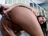 A hot ass brunette is doing work on herself with a big dildo. A dude soon replaces the toy with his beef-bus, driving it up her ass in every conceivable position before plastering her face in jizz.