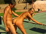 Nina is a sexy Czech that takes tennis lessons.  One day she showed up early and got some extra lessons.  She sucks and fucks her instructor outside, and gets her shaved vag finger fucked hard.  They fuck in the grass and on the court, and Nina ends up with a load of jizz across the chin.