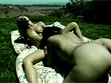 French whore, Nomi, gets with Czech slut, Nakita Denise.  They are outside for their fun and Nomi is the first to go downtown.  She licks and fingers Nakita's pussy, and then works a glass dildo in and out of her asshole.  Nakits then gets busy on Nomi doing the same, except she spends some time p