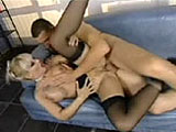 This scene has a blonde come home from her whoring job, wearing stockings and a slutty outfit.  She makes small talk with the guy and they then quickly move to the sofa.  He fingers and eats her out, then she blows him.  They fuck in several positions, then he gives her ass a real pounding before cu