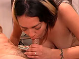 Drew Hurlie gets with her man in a cheap hotel room for some good old fashioned ass eating.  They strip down naked, and drew immediately goes for the cock.  Quickly though, the guy is eating her hairy pussy and tonguing her puckered asshole.  She returnas the favor, burying her face into his hairy a