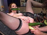 Audrey is getting ass fucked while masturbating with a big green cucumber during the first five minute of this scene.  At the seven minute mark, I had to stop this scene and reflect for a moment, you'll see why!