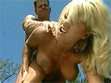 A gorgeous blonde named Farrah goes down on her boyfriend before bending over for a tongue lashing. The busty slut gets fucked in every position before having her face smothered in jizz.