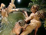 Three hot ass blondes do work on two big hard johnsons in a Jacuzzi! After a lot of fucking, fingering, and tonguing, all three of the girls get facials.